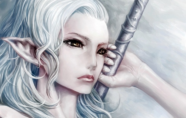 Picture fantasy, art, elf, white hair, arm, youtsuu
