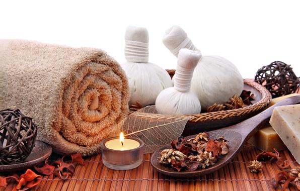Picture relax, soap, bath, Spa, candle, spa, salt, towel