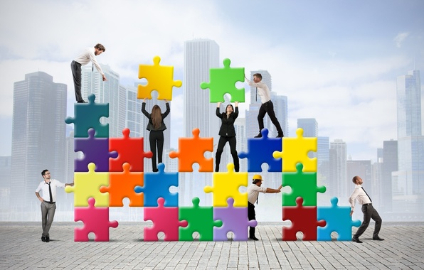 Picture people, puzzles, structure, business