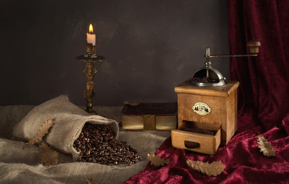 Picture leaves, coffee, candle, grain, book, still life, bag, coffee grinder