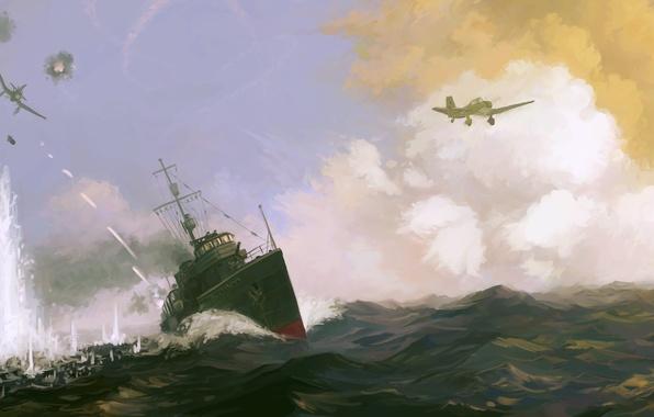 Picture sea, attack, figure, ship, explosions, battle, art, aircraft, destroyer, tracers, Valerian Kuibyshev, Valerian Kuybysheve, Soviet …