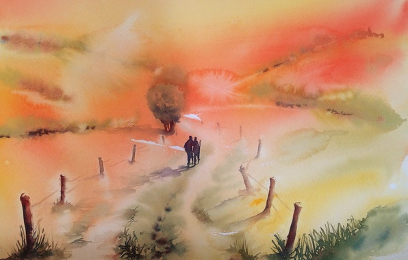 Picture road, picture, watercolor