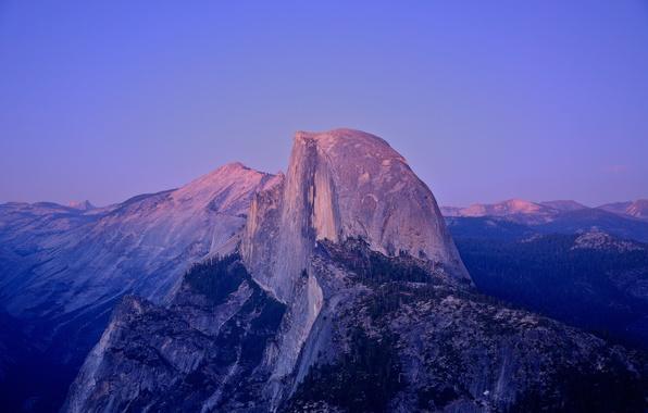 Picture sunset, CA, USA, moonlight, Yosemite national Park, granite rock, Half Dome