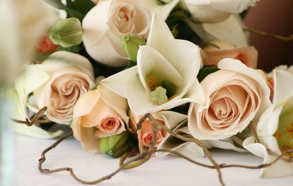 Photo wallpaper flowers, romance, roses, beautiful, wedding
