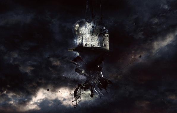 Picture clouds, castle, the darkness