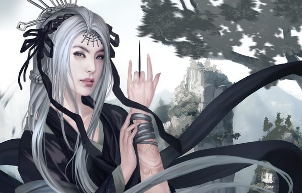 Picture girl, decoration, mountains, Asia, hand, art, knife, tattoo, white hair