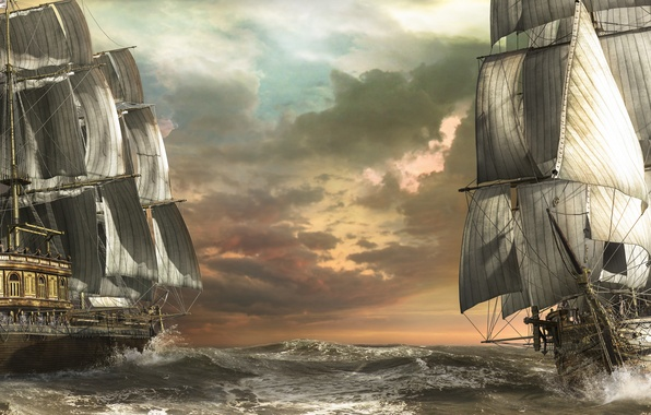 Picture sea, wave, ships, art, sailboats