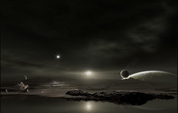 Picture water, ship, Planet
