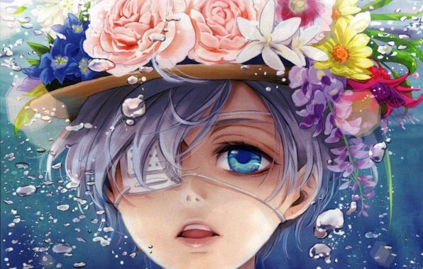 Picture flowers, bubbles, roses, hat, anime, art, headband, guy, under water, kuroshitsuji, dark Butler, ciel phantomhive