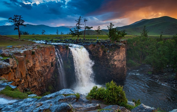 Picture the sky, clouds, trees, sunset, mountains, clouds, nature, river, waterfall, Mongolia