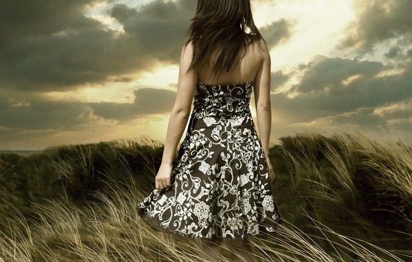 Picture the sky, girl, clouds, nature, mood, dress, brunette