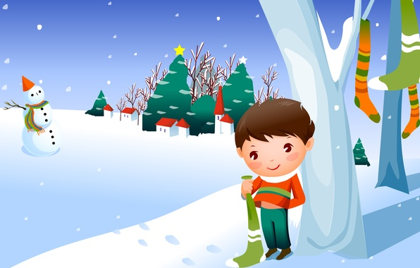Picture winter, snow, boy, snowman, the village, tree, baby Wallpaper