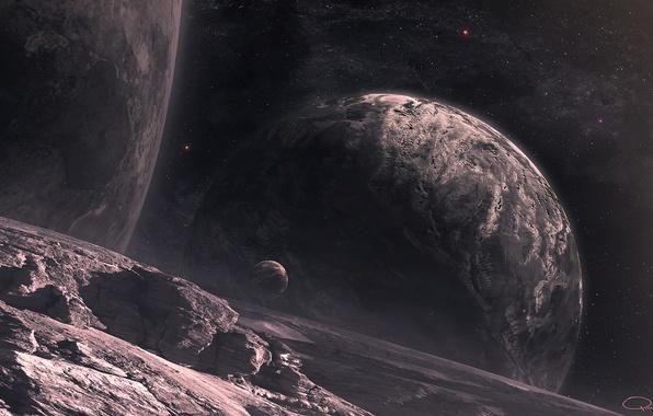 Picture space, stars, surface, landscape, planet, satellites