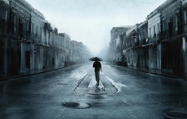 Picture road, the city, rain, one, people, umbrella, art