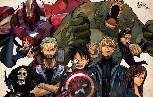 Picture pirates, shield, iron man, one piece, Hulk, Thor, captain America, the Avengers, Loki, Luffy, straw …