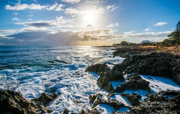 Picture the sky, the sun, clouds, the ocean, coast, horizon, Hawaii, USA, Nanakuli