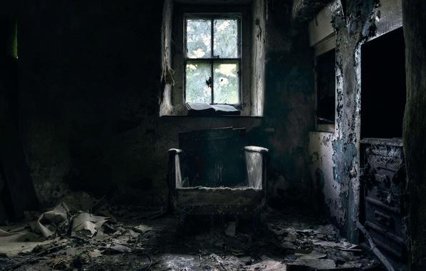 Picture chair, window, needs repair, comfort)
