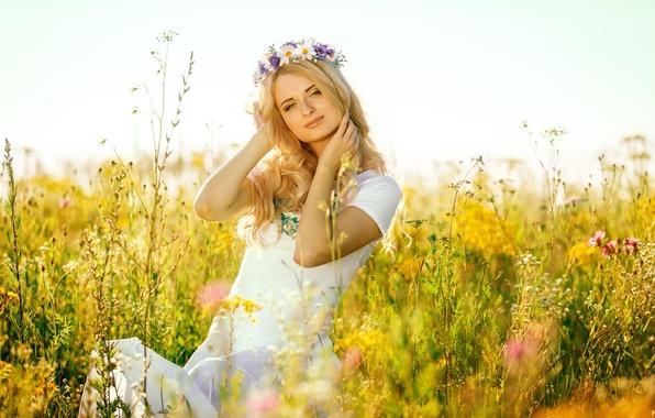 Picture field, girl, blonde, blue eyes, Russian beauty, Slavyanka