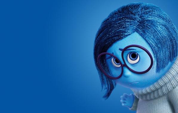 Picture girl, sad, blue, sadness, coat, glasses, adventure, 2015, Pixar Animation Studios, five emotions, Inside Out, …
