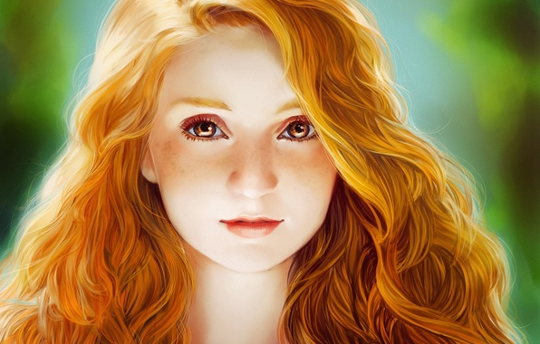 Picture eyes, look, face, hair, girl, red