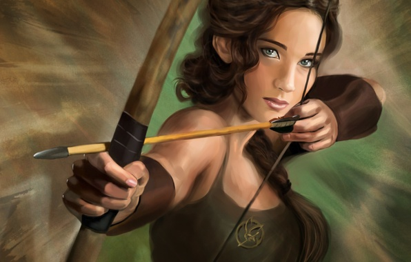 Picture bow, art, arrow, Jennifer Lawrence, the hunger games, Jennifer Lawrence, The Hunger Games, Katniss Everdeen