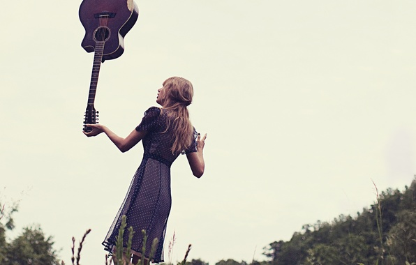 Picture the sky, pose, guitar, dress, photographer, album, singer, Red, Taylor Swift, photoshoot, nature, music, Taylor ...