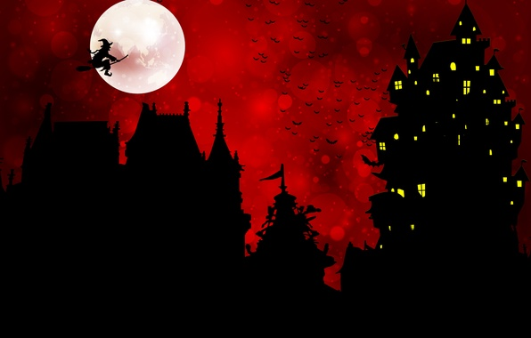 Picture birds, castle, holiday, the moon, Halloween, Baba Yaga