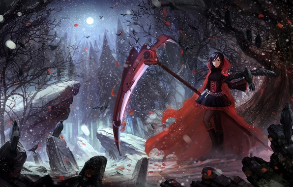 Picture girl, anime, art, ruby, rwby, upscale, ruby rose, hbptcsg2
