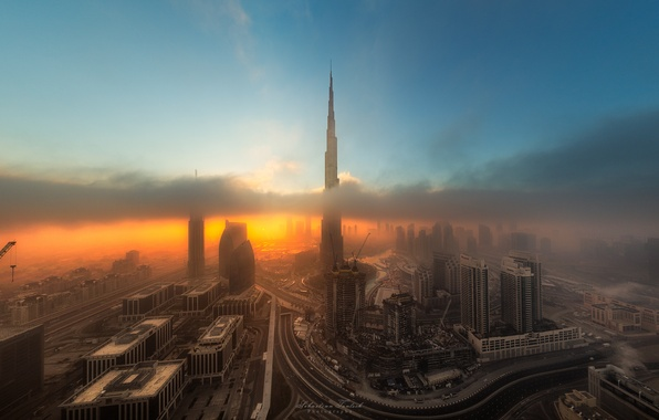 Picture night, the city, the evening, Dubai, UAE, cloud.fog