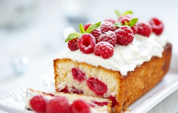Picture berries, raspberry, food, cream, cakes, sweet, cupcake, powder