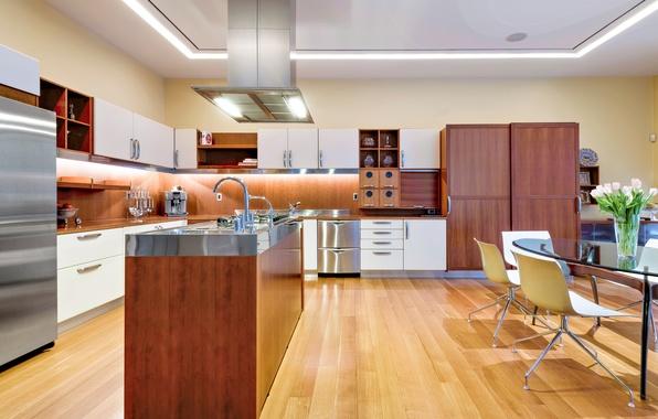 Picture flowers, design, style, table, furniture, chairs, technique, refrigerator, kitchen, interior, kitchen, desigen, vase.