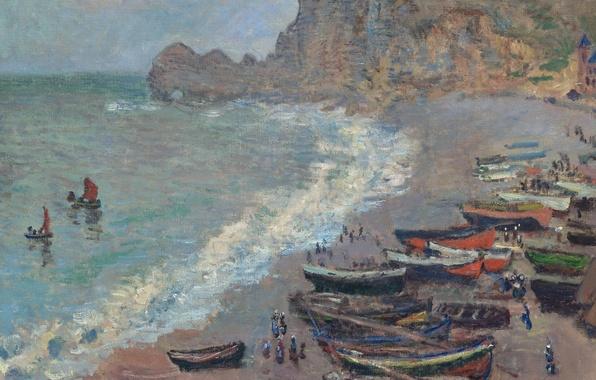 Picture landscape, shore, picture, boats, Claude Monet, The beach in Etretat