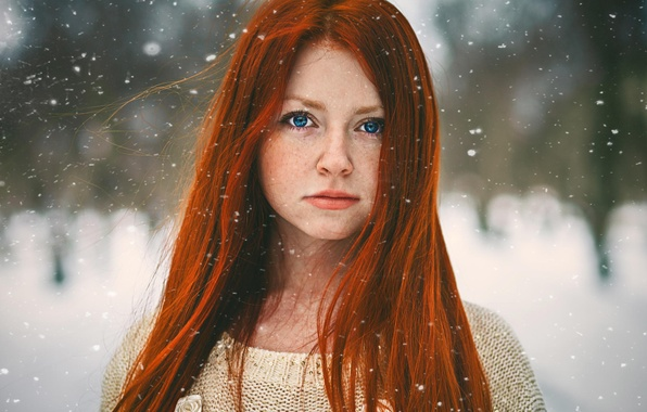 Picture snow, portrait, redhead, red girl