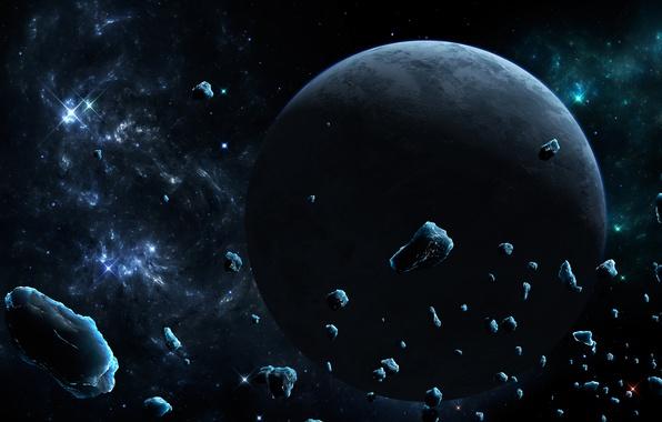 Picture ice, space, stars, nebula, planet, asteroids, art, meteorites