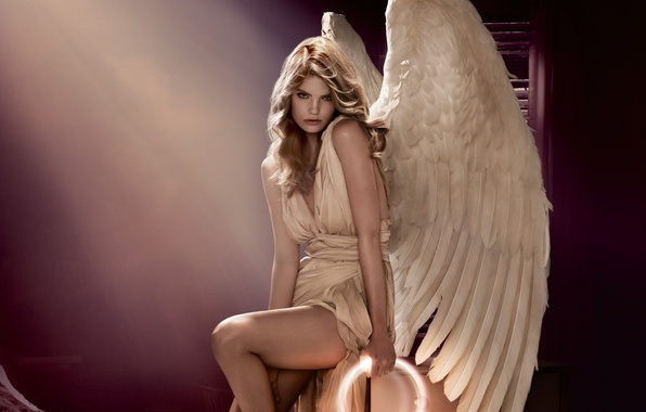 Picture girl, light, pose, hand, wings, angel, feathers, white, halo, angel