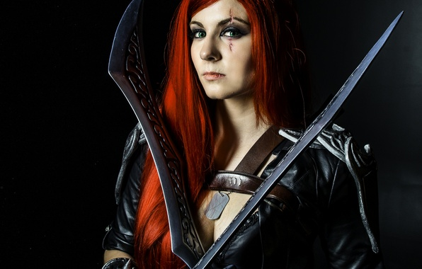 Picture green eyes, pirate, redhead, cosplay, look, swords