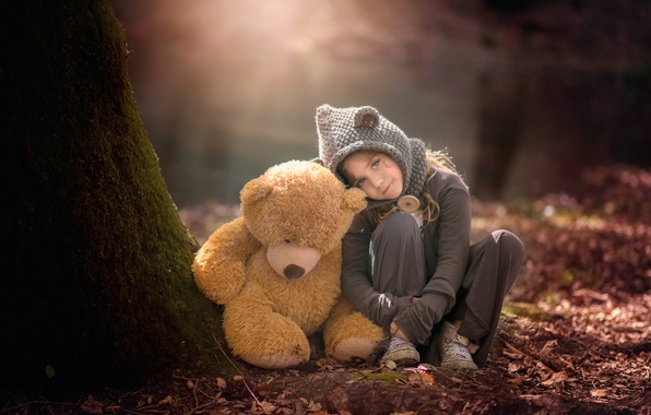 Picture forest, bear, girl, Susana of the Key