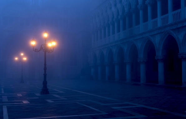 Picture light, the city, fog, the evening, lighting, lights, Italy, Venice, Italy, Venice, Piazza San Marco, …
