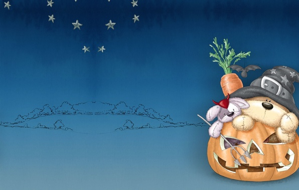 Picture holiday, carrot, art, pumpkin, bear, Halloween, Bunny, children's