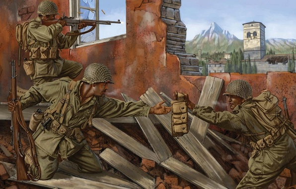 Picture the city, war, figure, battle, art, soldiers, the ruins, rifle, equipment, Rifle, Browning, WW2, automatic, …