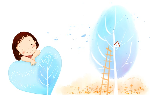 Picture smile, tree, the wind, foliage, ladder, girl, birdhouse, heart, baby Wallpaper