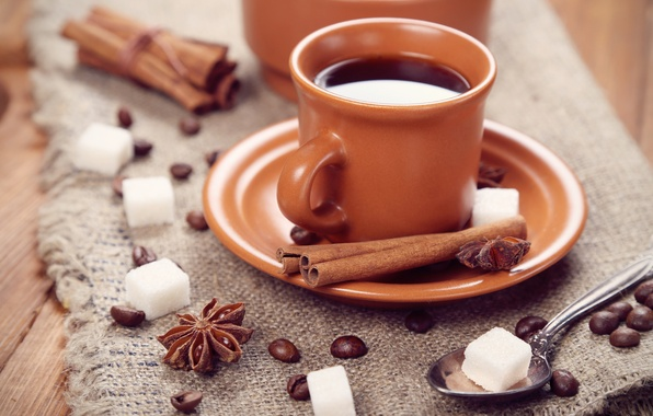 Picture coffee, grain, spoon, Cup, sugar, cinnamon, saucer, spices, star anise, Anis