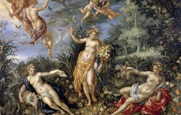 Picture flowers, picture, genre, mythology, The Four Elements, Jan Brueghel the elder
