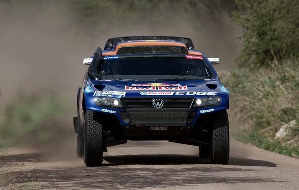 Picture Blue, Sport, Volkswagen, Race, The hood, rally, Touareg, Rally, Dakar, Dakar, SUV, The front