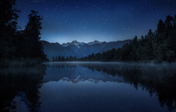 Picture the sky, stars, trees, mountains, night, lake, reflection, the reeds, New Zealand, haze, New Zealand, …