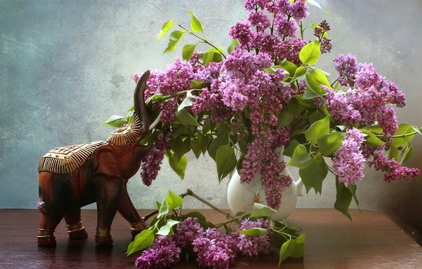 Picture bouquet, figurine, lilac, elephant