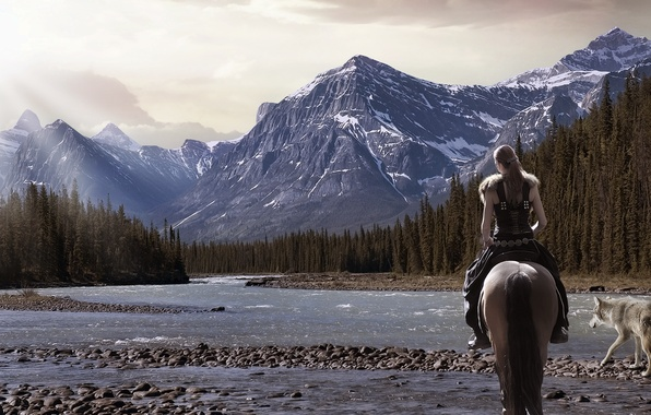 Picture forest, girl, landscape, mountains, nature, river, horse, wolf, spruce, warrior
