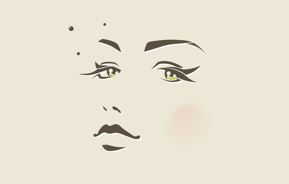 Picture eyes, girl, circles, face, minimalism, vector, nose, lips, mole, beige, pupils, blush, face