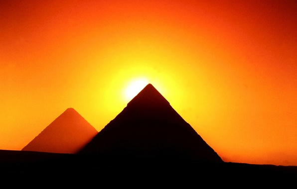 Picture the sun, sunset, silhouette, Giza, glow, Egypt, pyramid