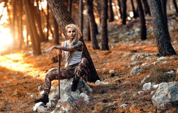 Picture girl, sword, tattoo, Alessandro Di Cicco, Tattoed Warrior